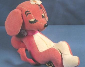 Vintage 1960s Dream Pet Stuffed Animal - Reclining Pink Dog