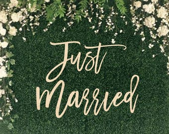Just Married Wood Wedding Sign || wedding word sign wedding backdrop wedding sign wedding reception wooden wall hang 03-002-041
