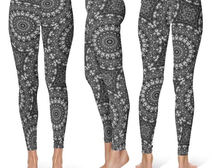 Monochrome Leggings Yoga Pants, Mandala Printed Yoga Tights for Women, Festival Clothing, Club Wear