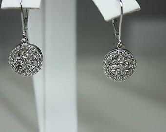0.85 Carat Dangling Diamond Earring 14KT White Gold