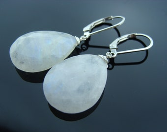 Large Faceted Rainbow Moonstone 925 Sterling Silver Leverback Earrings