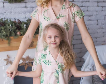 Matching Tropical Pjs - Blush Baby Mommy Matching Pjs, Mom and Me Pajamas, Palm leaves pattern, Twinning, Mommy baby matching palm leaf pjs