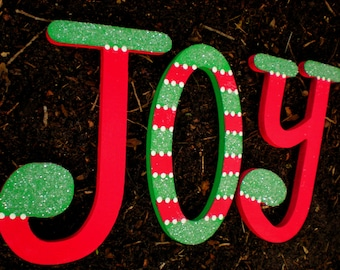 Christmas Wall Letters - JOY - Hand Painted - Set of 3 Letters
