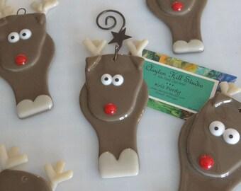Reindeer Ornament - Fused Glass