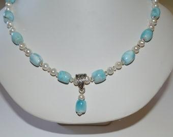 Larimar, Crystal & Pearl Necklace