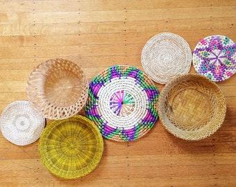 Basket wall set/colorful set of wicker baskets/set of seven wicker baskets