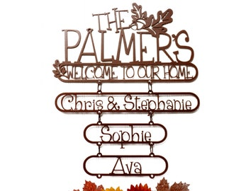 Custom Family First & Last Name Metal Signs with Child Name Signs - Copper, Outdoor Sign, Custom Sign, Personalized Sign