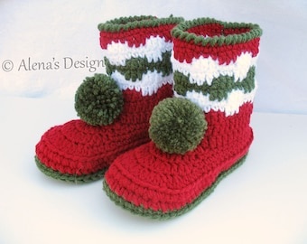Crochet Pattern 028 - Christmas Toddler Pom-Pom Booties Boys Girls  Children Winter Boots Slippers Pattern Christmas Decoration Red Booties