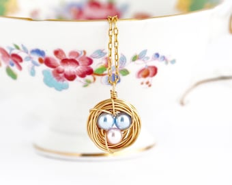 New Mom Gift - Blue and PInk Eggs - Bird Nest Necklace - Push Present - Pearl Eggs - Gold Nest Necklace - Wire Nest Necklace