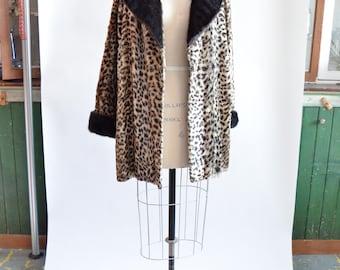 Vintage 1960s LEOPARD faux fur coat