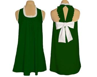 Green + White Back Bow Dress