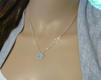 Sideways Anchor Charm Necklace Jewelry with Initial Coin Disc Monogram Pendant - Child Girl Necklace - Sister Gift Necklace Jewelry