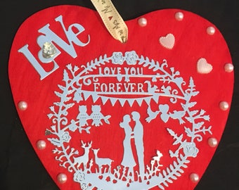 Wedding gift, Wedding gift, large wooden love heart, wooden anniversary heart, anniversary gift, Can be personalised with names and date.
