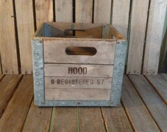 Hood Milk Crate 1957, Wood And Hood Milk Crate,