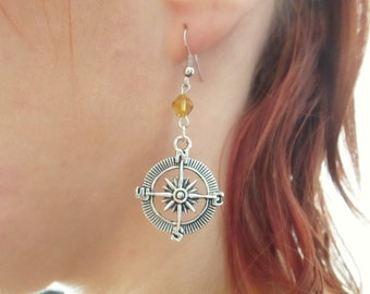 Compass earrings with yellow beads, silver compass earrings
