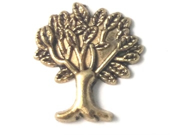 1 PC - Tree Gold Charm for Floating Locket Jewelry F0087
