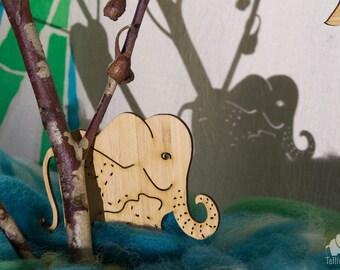 Bamboo shadow puppets, elephant, orangutan, hornbill, monsoon, fire, Borneo rainforest animals. Bundle of 5 puppets.