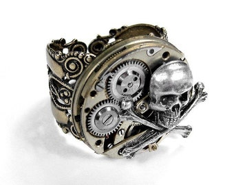 Steampunk Ring Vintage Watch Movement BIKER ROCKER Steam Punk Mens Skull Bones Ring, Burning Man Jewelry - Steampunk Jewelry by edmdesigns