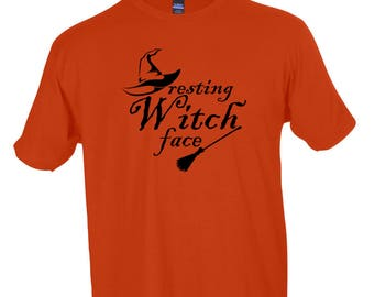 Resting Witch Face Funny Halloween Crew Neck Tee Mens and Womens