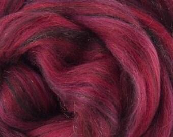 Poison Apple, 23 micron, 4 oz braid, merino, combed top, roving, spinning fiber, hand spinning fiber, fibre, red, merino