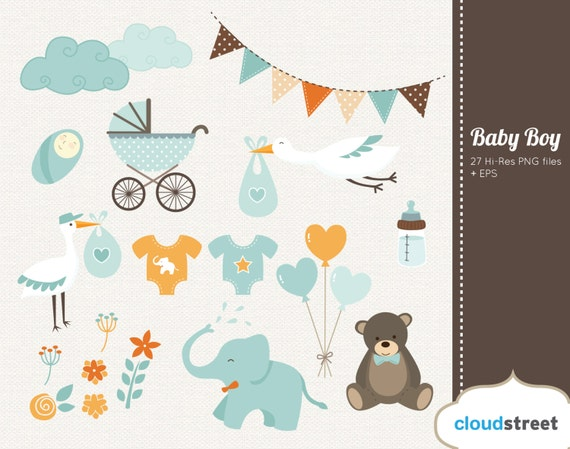 buy 2 get 1 free baby boy clipart baby shower birth announcement rh etsystudio com free twin baby boy clipart free baby boy border clipart