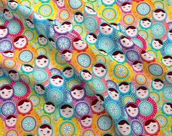 Nesting Doll Fabric - Matryoshka Russian Dolls Pink Blue Green By Ekaterinap - Cotton Fabric by the Yard with Spoonflower