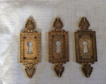 Vintage Antique 1940s  French Escutcheon Key Hole Keyhole Covers Brass 3 (three) pieces