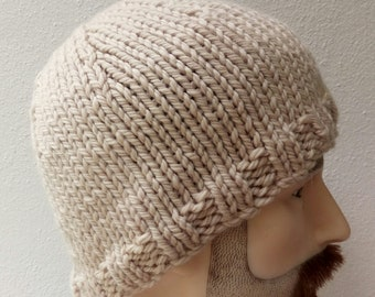 On sale. Men's beanie warm winter hat soft silk, wool and bamboo thick cosy  large