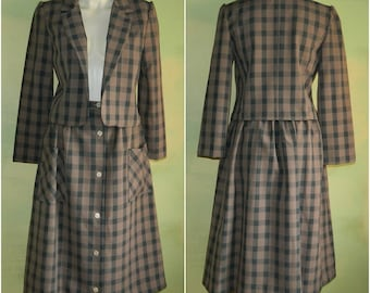 S 60s Mad Men Brown Plaid Skirt Suit Button Front Patch Pocket Skirt and Jacket