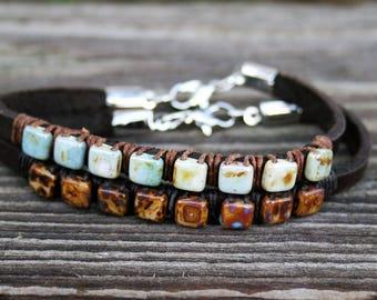 Boho Bracelet- Beaded Bracelets- Wrap Bracelet- Bohemian Jewelry- Fixer Upper- Bestfriend Gift- Leather Bracelet- Joanna Gaines- Mothers Day
