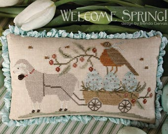 """WITH THY NEEDLE & Thread """"Welcome Spring""""   Primitive Counted Cross Stitch Pattern   Easter, Spring, Putz, Sheep, Lambs"""