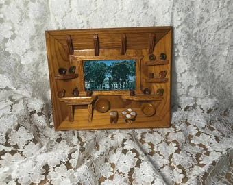 Vintage Handmade Wood Wall Decor Display Dishes