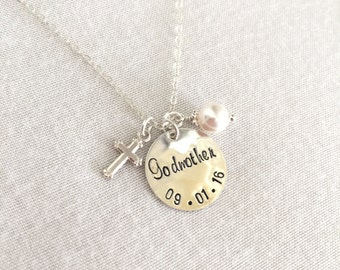 Personalized Godmother Necklace, Sterling Silver Godmother Gift, Silver Cross, Gold Cross, Gold Filled Godmother Gift, Godmother Jewelry