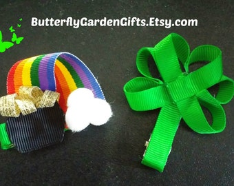 St Patrick's Day hair clip, clover, pot of gold