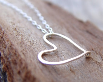 Custom Order For Eonit  - Gold Heart Necklace On A Silver Chain