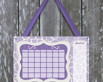 Cute purple giraffe print dry erase calendar for girls