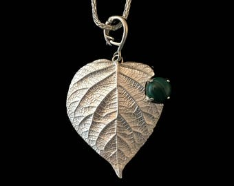 """Hydrangea Leaf Pendant with Malachite~""""Verdant""""~Enhancer /Necklace~Fine and Sterling Silver~Leaf/Twig/Branch~Shiny"""