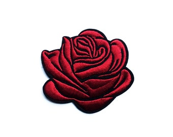 Iron on Badge Rose Patch Jeans Red Flower Iron On Patch Jacket Patch - Flowers Floral Patches - Grunge Patches - Embroidered Patch Red Rose