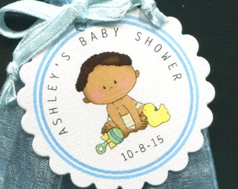 Personalized Baby Boy Baby Shower Favor Tags featuring a baby boy with many toys, set of 25