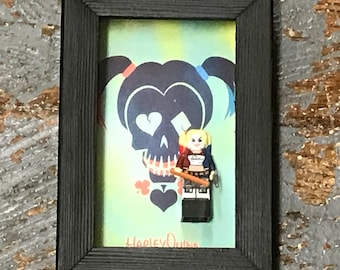 Suicide Squad Harley Quinn Lego Figurine Wall Display Picture Frame Toy Art