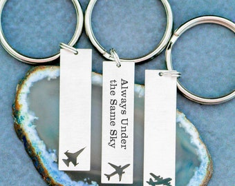 Air Force Gift Airplane Keychain • Military Airplane Pilot Gift Military Wife Pilot Keychain C-130 • Always Under the Same Sky Father's Day