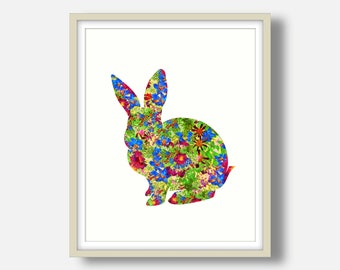 Rabbit Print Bunny Print Nursery Print Bunny Art Nursery Decor Nursery Wall Art Bunny Wall Art Printable Art Floral Print Floral Art Decor