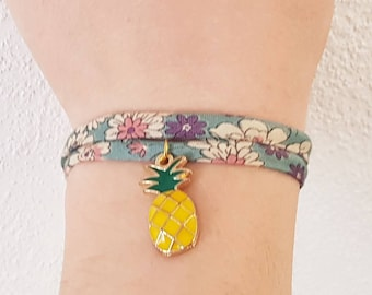 Bracelet Liberty charm bracelet with pineapple, pineapple, summer is already on the wrist!