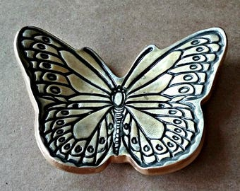 Ceramic Butterfly Ring Dish PaleYellow edged in Gold