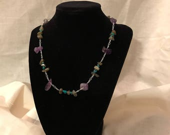 Amethyst, labradorite and turquoise chain necklace