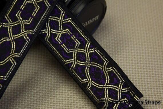 "Camera Strap Lattice Metallic Gold Purple 1.5"" Wide Custom Padded Fits DSLR SLR 4749"