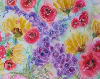 original abstract wildflower watercolor painting, home decor, foxglove art, flower art, poppy,sunflower art, wall decor, abstract floral art
