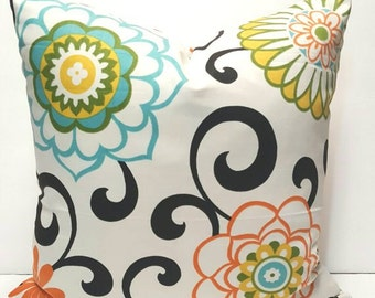 Floral Print Waverly Pom Pom Play Confetti Decorative Throw Indoor Pillow Cover with Solid Ivory color backing fabric and Hidden Zipper