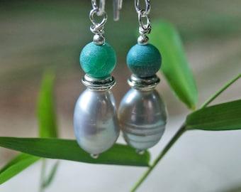 Aquamarine Earrings, Pearl Earrings, 1 Pair