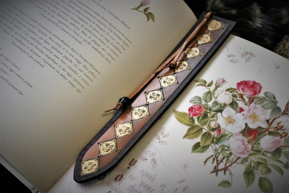 Medieval bookmark, fantasy book accessory, embossing leather, brown and gold, catholic rosette